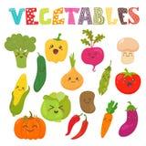 Vegetais de sorriso do kawaii bonito Coleção saudável do estilo Imagem de Stock Royalty Free