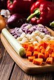 Vegetais desbastados: cenouras, salsa e cebola Imagens de Stock