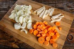 Vegetais desbastados como ingredientes Imagens de Stock