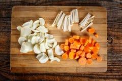 Vegetais desbastados como ingredientes Fotografia de Stock Royalty Free