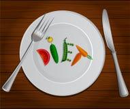 Vegetais a dieta da palavra na placa vegetariano ilustração royalty free