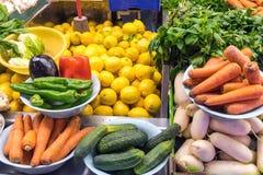 Vegetais diferentes para a venda em um mercado Imagem de Stock Royalty Free