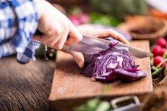 Vegetais do corte da mão As mãos das mulheres estão cortando a couve na placa de madeira perto dos vegetais Imagem de Stock