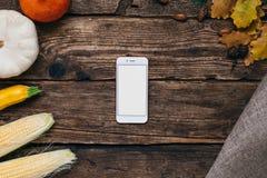 Vegetais do outono: o telefone celular com a tela, as abóboras e milho vazios brancos com amarelo sae em um fundo de madeira foto de stock
