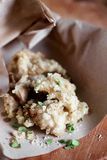 Vegetais do tempura do estilo japonês com ervas e sal frescos Fotos de Stock Royalty Free
