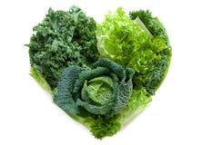 Vegetais do verde da forma do coração Foto de Stock Royalty Free