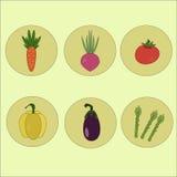 Vegetais dos ícones Alimento Imagens de Stock