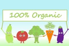 Vegetais dos desenhos animados com o sinal orgânico Foto de Stock