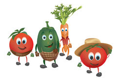 Vegetais dos desenhos animados com roupa Imagens de Stock Royalty Free
