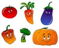 Vegetais dos desenhos animados em um fundo branco Fotos de Stock