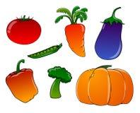 Vegetais dos desenhos animados em um fundo branco Fotos de Stock Royalty Free