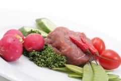 Vegetais e carne crua Imagens de Stock Royalty Free