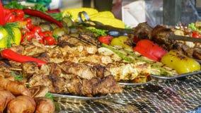 Vegetais e carne grelhados Imagens de Stock Royalty Free