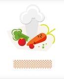 Vegetais e chapéu A dos cozinheiros chefe Fotos de Stock