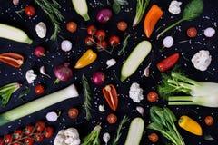 Vegetais e especiarias coloridos no fundo preto Exposição do produto Alimentos saudáveis orgânicos do vegetariano Disposição do m Imagem de Stock Royalty Free
