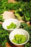 Vegetais e especiarias verdes em umas bacias em uma tabela de madeira Imagem de Stock