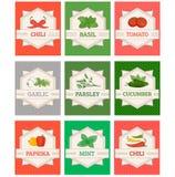 Vegetais e etiquetas ajustadas especiarias, Imagens de Stock Royalty Free