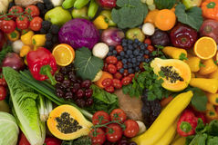 Vegetais e frutas Foto de Stock