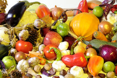 Vegetais e frutas isolados Foto de Stock