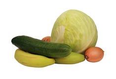 Vegetais e frutas no fundo branco Fotos de Stock