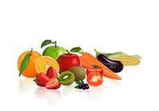 Vegetais e frutos do grupo ilustração do vetor