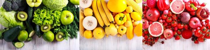 Vegetais e frutos verdes, amarelos e vermelhos Imagem de Stock Royalty Free