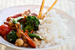 Vegetais e galinha fritados Stir Imagem de Stock Royalty Free