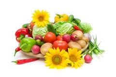 Vegetais e girassóis em um fundo branco Fotografia de Stock