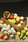 Vegetais e maçãs na tabela de madeira Colheita do outono na exploração agrícola Uma dieta saudável para crianças Imagem de Stock Royalty Free