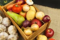 Vegetais e maçãs na tabela de madeira Colheita do outono na exploração agrícola Uma dieta saudável para crianças Fotos de Stock