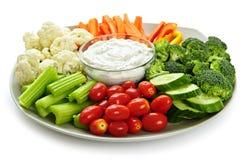 Vegetais e mergulho Imagem de Stock