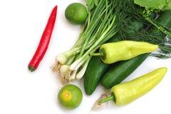 Vegetais e pimentões verdes frescos fotos de stock