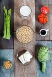 Vegetais e produtos da soja Foto de Stock