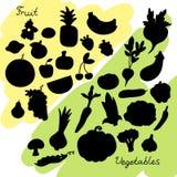 Vegetais e silhuetas do fruto Fotos de Stock