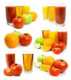 Vegetais e suco de frutas frescas no vidro Imagens de Stock Royalty Free