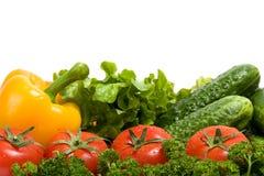Vegetais e verdure verde isolados no branco foto de stock