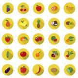 Vegetais e vetor dos ícones do fruto Foto de Stock