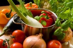 Vegetais em cozinhar o potenciômetro Fotos de Stock Royalty Free