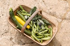 Vegetais em Sussex Trug Imagens de Stock Royalty Free