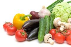 Vegetais em um close-up branco do fundo Imagens de Stock Royalty Free