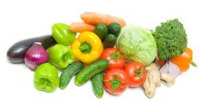 Vegetais em um fundo branco - vista superior Fotografia de Stock Royalty Free