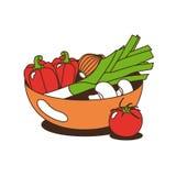 Vegetais em uma bacia Fotografia de Stock Royalty Free