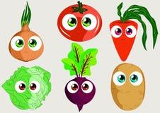 Vegetais engraçados ajustados para o uso como etiquetas, livros, jogos e outro Fotos de Stock Royalty Free