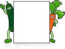 Vegetais engraçados com sinal Imagens de Stock