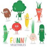 Vegetais engraçados dos desenhos animados ajustados Ilustração do vetor isolada no branco Foto de Stock