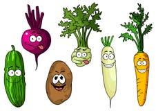 Vegetais engraçados frescos dos desenhos animados Fotografia de Stock Royalty Free