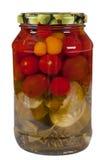 Vegetais enlatados, pepino, tomate, Fotografia de Stock Royalty Free