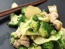 Vegetais fritados agitação no prato Imagem de Stock