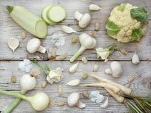 Vegetais, frutos e flores brancos Foto de Stock