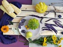 Vegetais, frutos, flores e folhas olorful do ¡ de Ð na superfície de texturas diferentes fotografia de stock